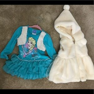 Elsa Dress w/ faux fur dress(unbranded), 18-24mos